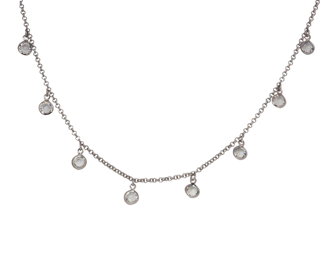 silver toned chocker chain necklace with clear cubic zirconias