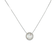 Load image into Gallery viewer, Necklace with a Holy Spirit pendant and clear zirconias stones sits on a white rhodium-plated chain.