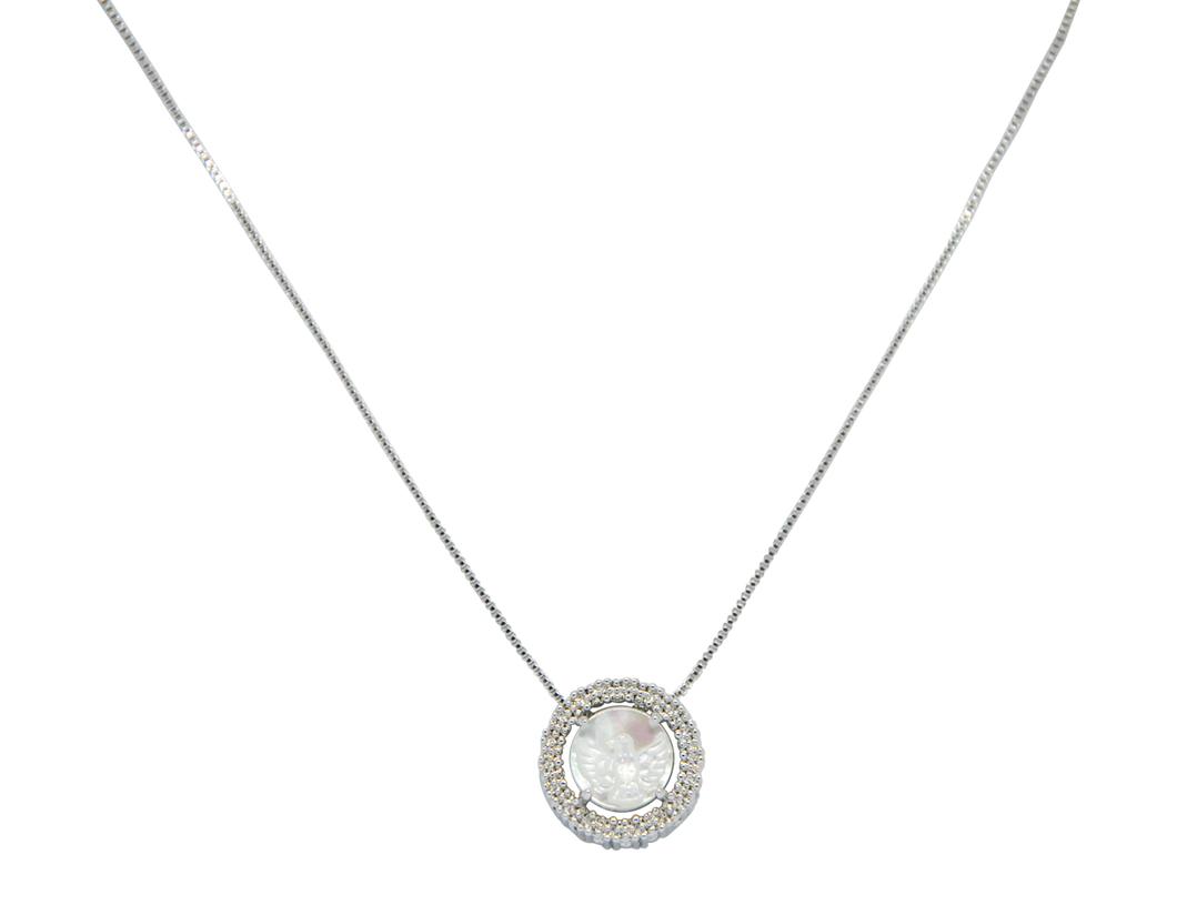 Necklace with a Holy Spirit pendant and clear zirconias stones sits on a white rhodium-plated chain.
