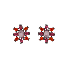 Load image into Gallery viewer, White rhodium-plated earrings has a sun shape made with eight tear-drop-shape in red and magenta and big oval pink zirconia in the middle. Anchoring: traditional screw (push back).