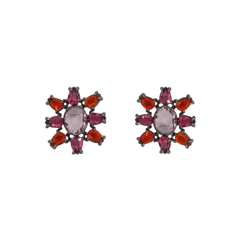White rhodium-plated earrings has a sun shape made with eight tear-drop-shape in red and magenta and big oval pink zirconia in the middle. Anchoring: traditional screw (push back).