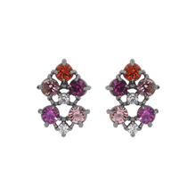 Load image into Gallery viewer, Black rhodium-plated studs with clear cubic zirconias on the top and middle, purple on the left top and right bottom, pink cubic zirconias on the right top and left bottom and cubic red zirconia on the bottom.