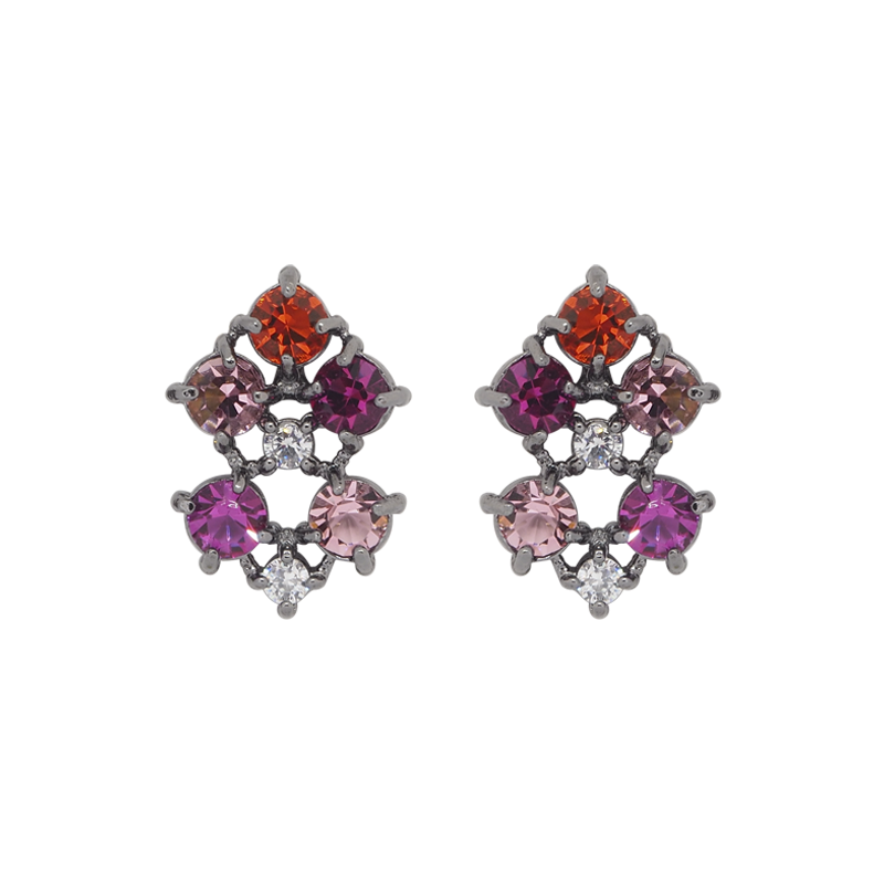 Black rhodium-plated studs with clear cubic zirconias on the top and middle, purple on the left top and right bottom, pink cubic zirconias on the right top and left bottom and cubic red zirconia on the bottom.