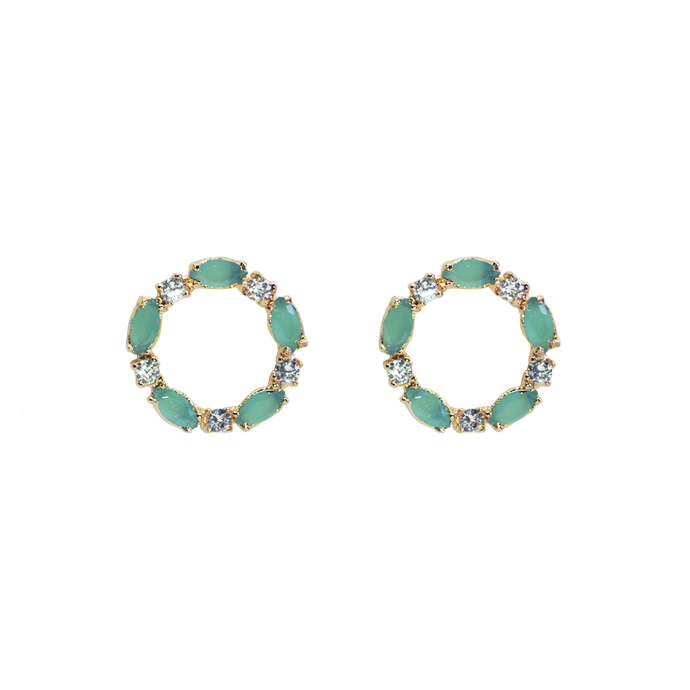 Gold plated earrings with mint green fusion stones and clear cubic zirconias. The earrings are made in a circle format of a garlands.