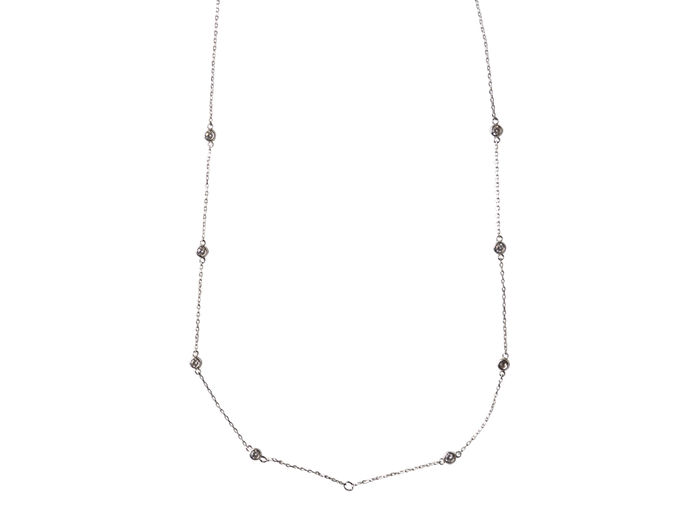 long silver toned, plated in white rhodium chains with clear cubic zirconias.