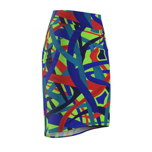 Stella Abstract Pencil Skirt (Green) - AFROSWAGG5