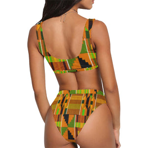 Afroswagg Kente Sport Top & High-Waisted Bikini Swimsuit - AFROSWAGG5