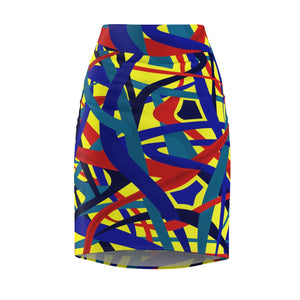Stella Abstract Pencil Skirt (Yellow) - AFROSWAGG5