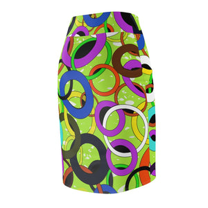 Rings Abstract Pencil Skirt (Green) - AFROSWAGG5
