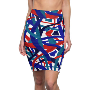 Stella Abstract Pencil Skirt (white) - AFROSWAGG5