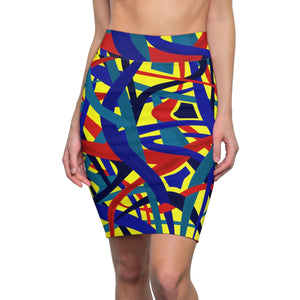 Stella Abstract Pencil Skirt (Yellow)