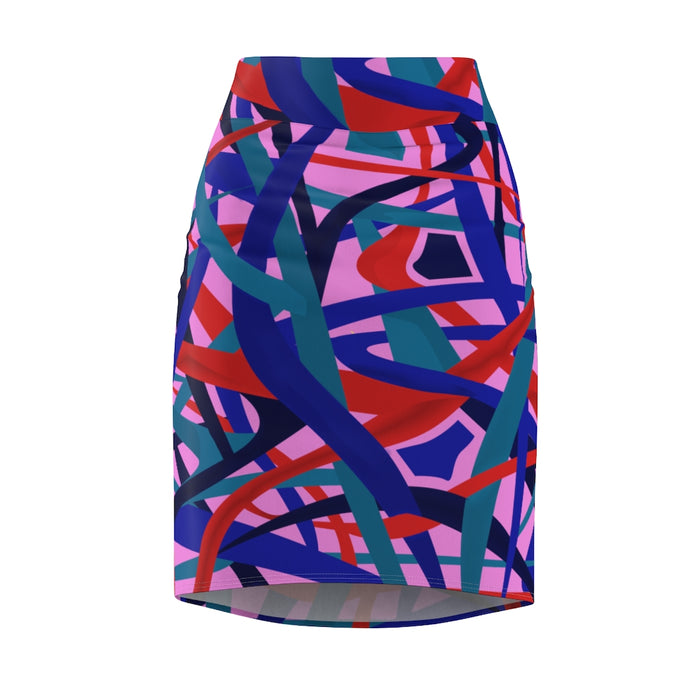 Stella Abstract Pencil Skirt (Purple)