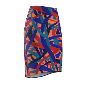 Stella Abstract Pencil Skirt (Orange) - AFROSWAGG5