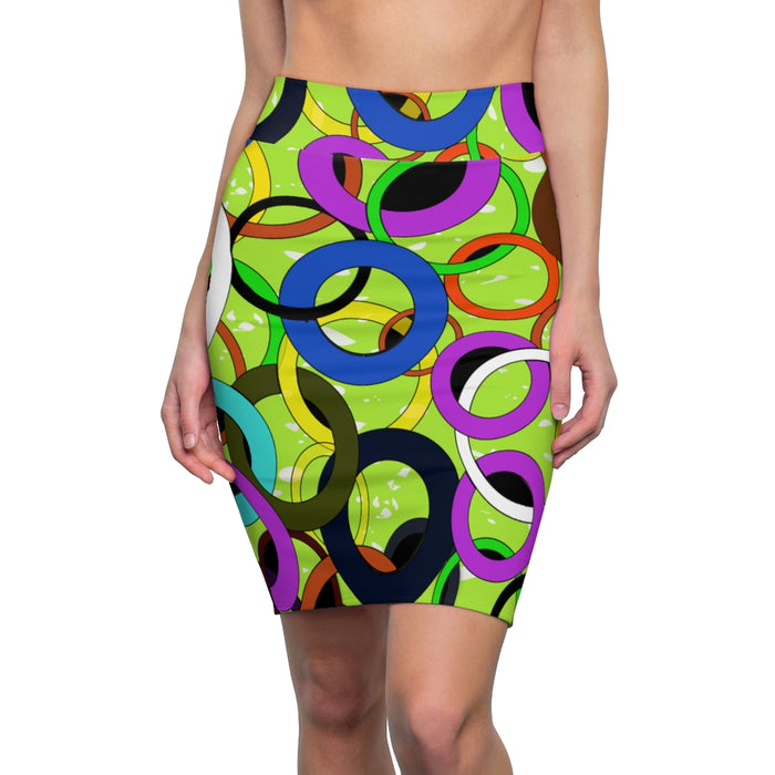 Rings Abstract Pencil Skirt (Green)