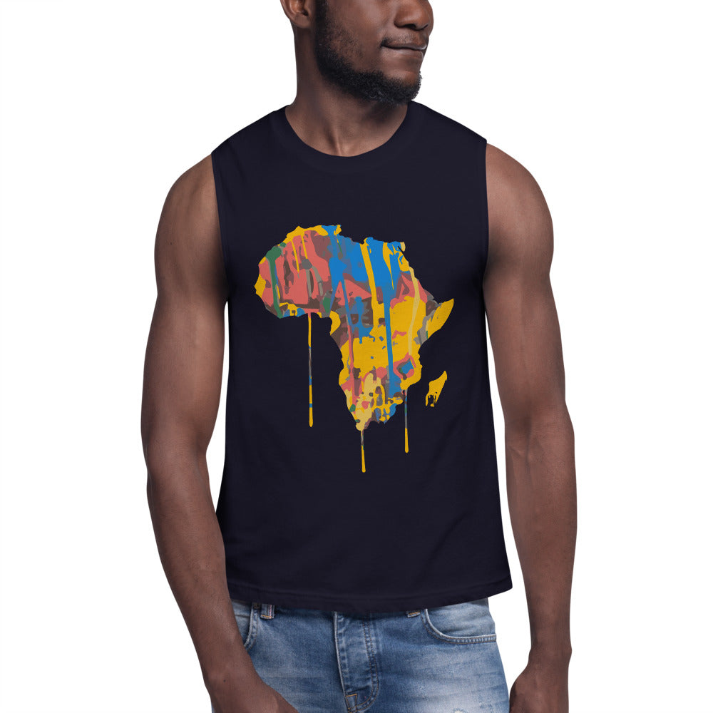 Afroswagg Paint Africa Muscle Shirt - AFROSWAGG5