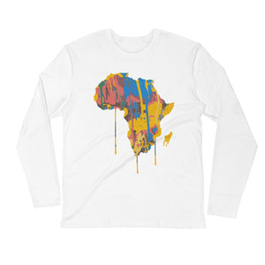 Afroswagg Paint Africa Long Sleeve Fitted Crew - AFROSWAGG5