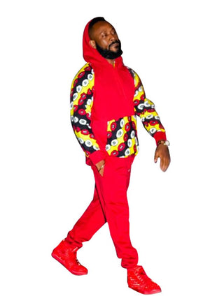 Ankara Patch Hoodie and Sweatpant - AFROSWAGG5