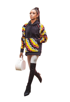 Ankara Patch Hoodie - AFROSWAGG5