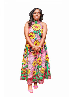 FLORA HALTER DRESS - AFROSWAGG5