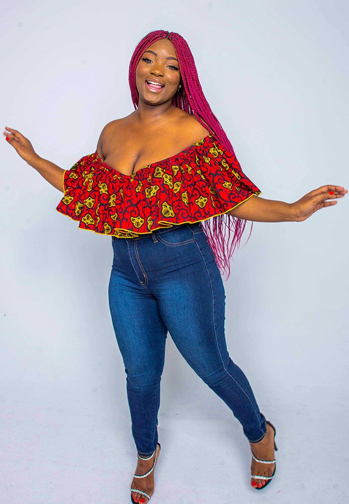 Ankara off shoulder Cape top