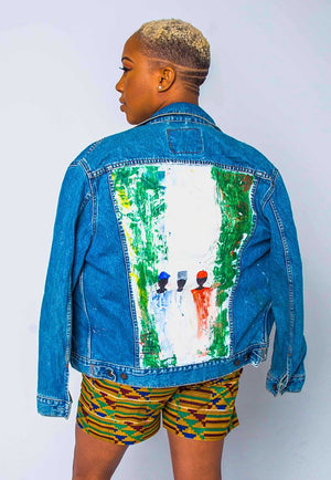 Afroswagg Unisex Art Denim Jacket -The Flag - AFROSWAGG5