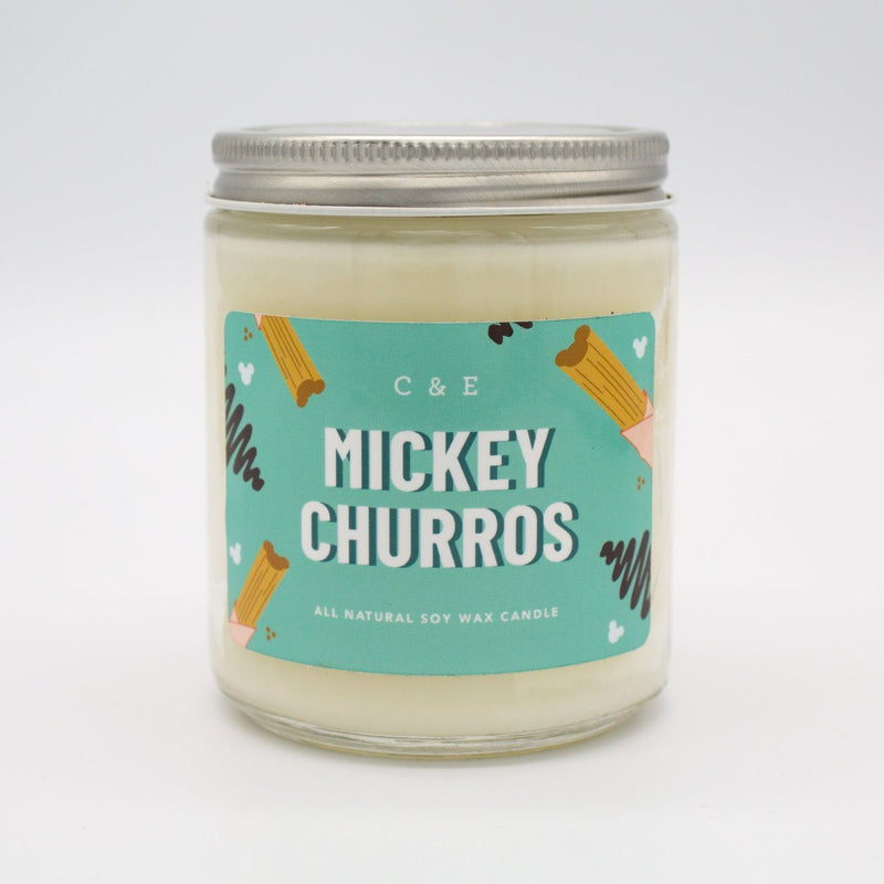 C&E - Mickey Churros - Soy Wax Candle - Disney Commentary C & E Craft Co