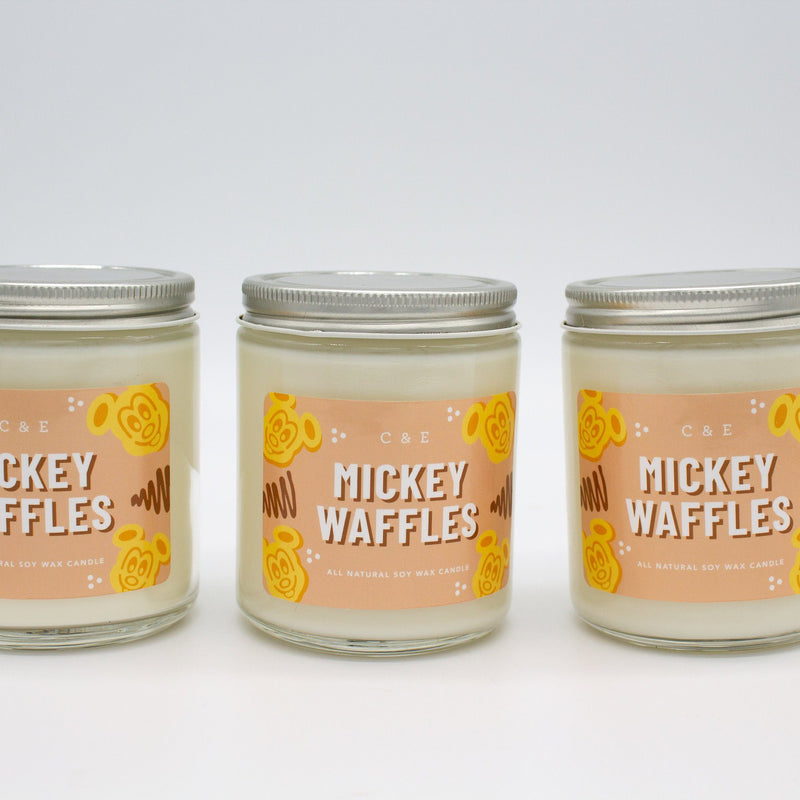 C&E - Mickey Waffles - Soy Wax Candle - Disney Commentary C & E Craft Co