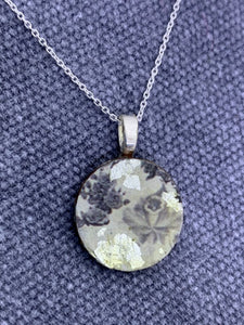 Rose and Silver leaf Penny Pendant