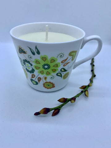 Chartreuse floral teacup with relaxing essential oils.