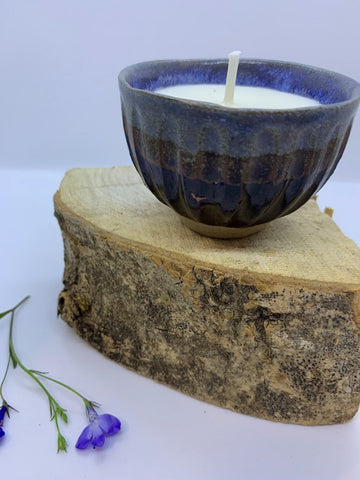 Hand thrown ceramic vessel with Vetiver Spice  Essential oil Soy Candle