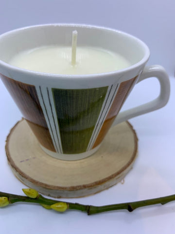 Mid Century Style Vintage coffee cup Soy Candle with Library fragrance