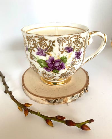 Violet Flowers & Gold Vintage Teacup Soya Candle - Pomegranate & Wild Fig
