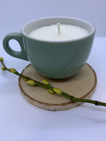 Pale green teacup Soy Candle with Cardamon and Mimosa fragrance