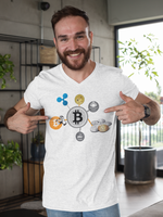 Bitcoin Ripple and Doge Men's Cryptocurrency Short-Sleeve T-Shirt