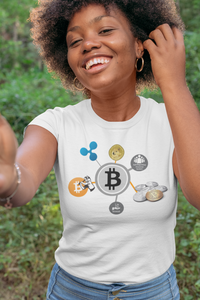 Bitcoin Ripple and Doge Women's Cryptocurrency Short-Sleeve T-Shirt