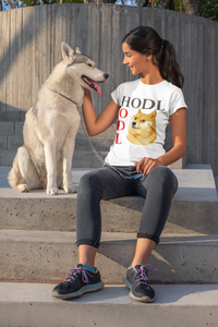 HODL Doge Women's Cryptocurrency Short-Sleeve T-Shirt