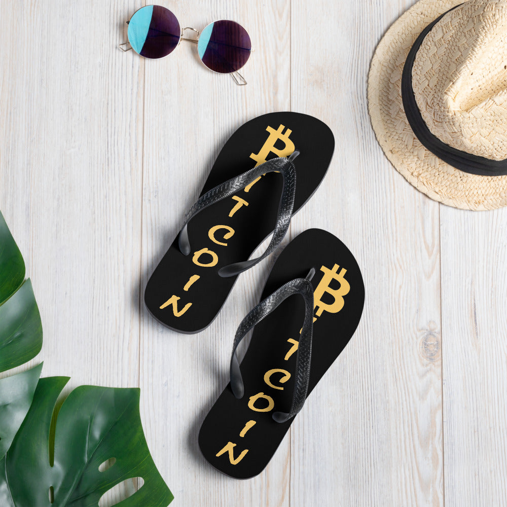 Ready for Summer Bitcoin BTC Cryptocurrency Flip-Flops