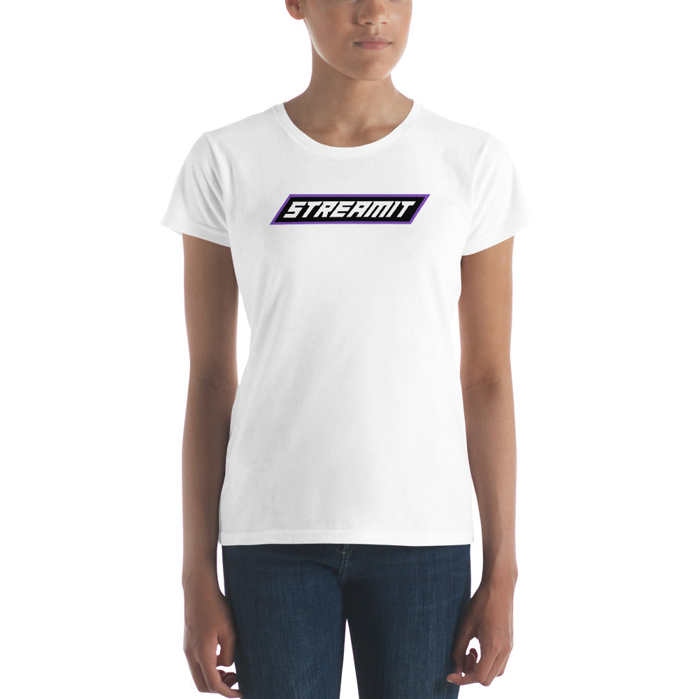 Trendy StreamIT W/White Lettering Women's Cryptocurrency Short-Sleeve T-Shirt