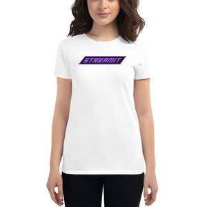 Trendy StreamIT W/Purple Lettering Women's Cryptocurrency Short-Sleeve T-Shirt