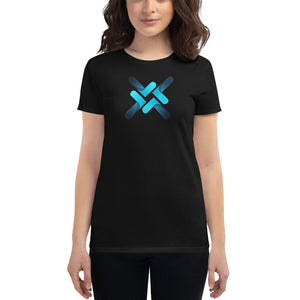 Trittium Multi-Blue Women's Cryptocurrency Short-Sleeve T-Shirt