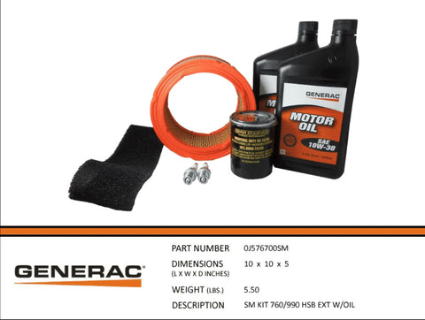 Generac Generator Part - 0J576700SM - SM KIT 760/990 HSB EXT W/OIL