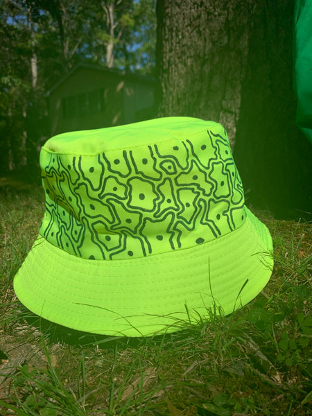 Lime green & black matter bucket hat