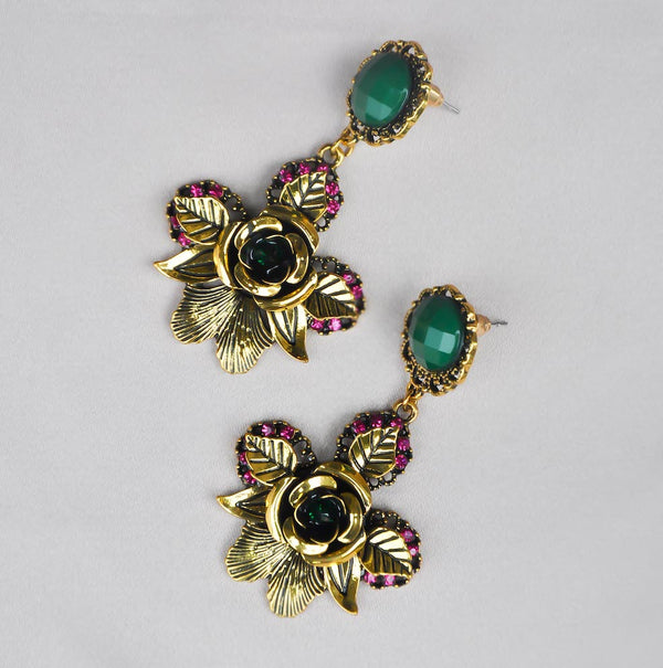 SOFIA EMERALD ROSE EARRINGS
