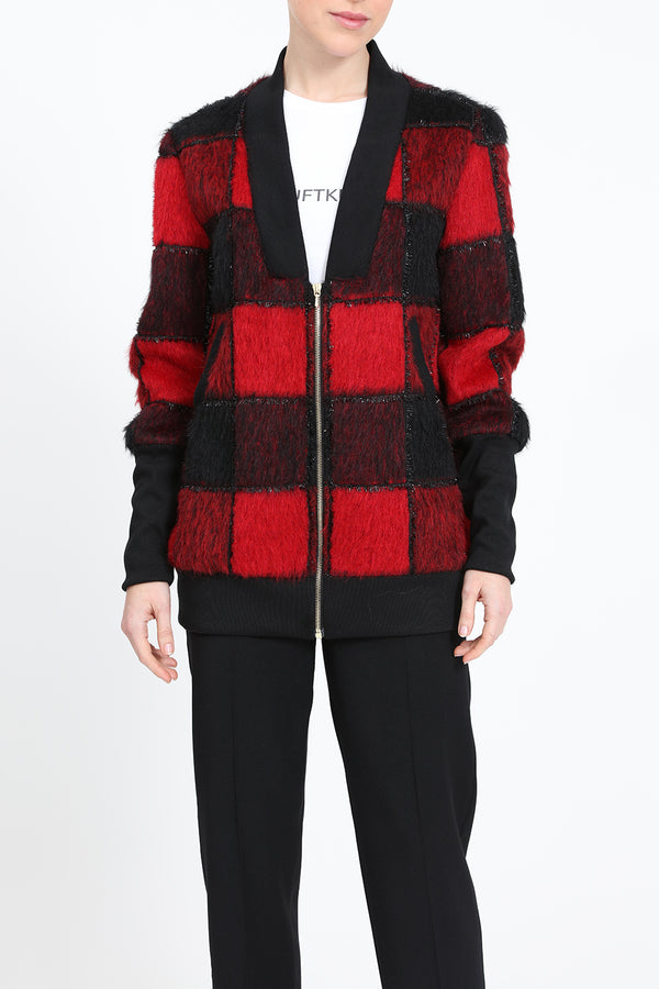 Red and black thigh-long jacket