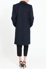 Dark blue fake fur coat