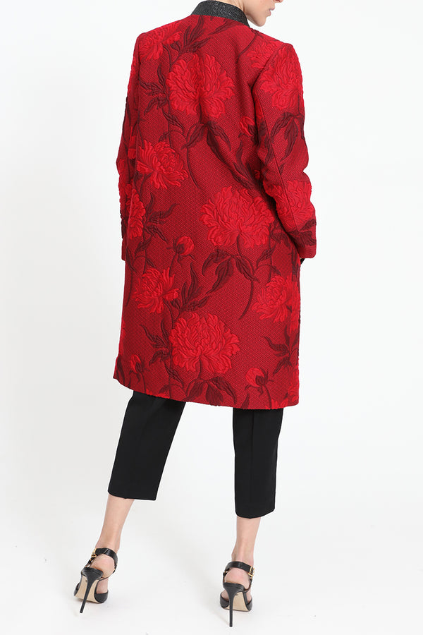 Red straight-fit coat