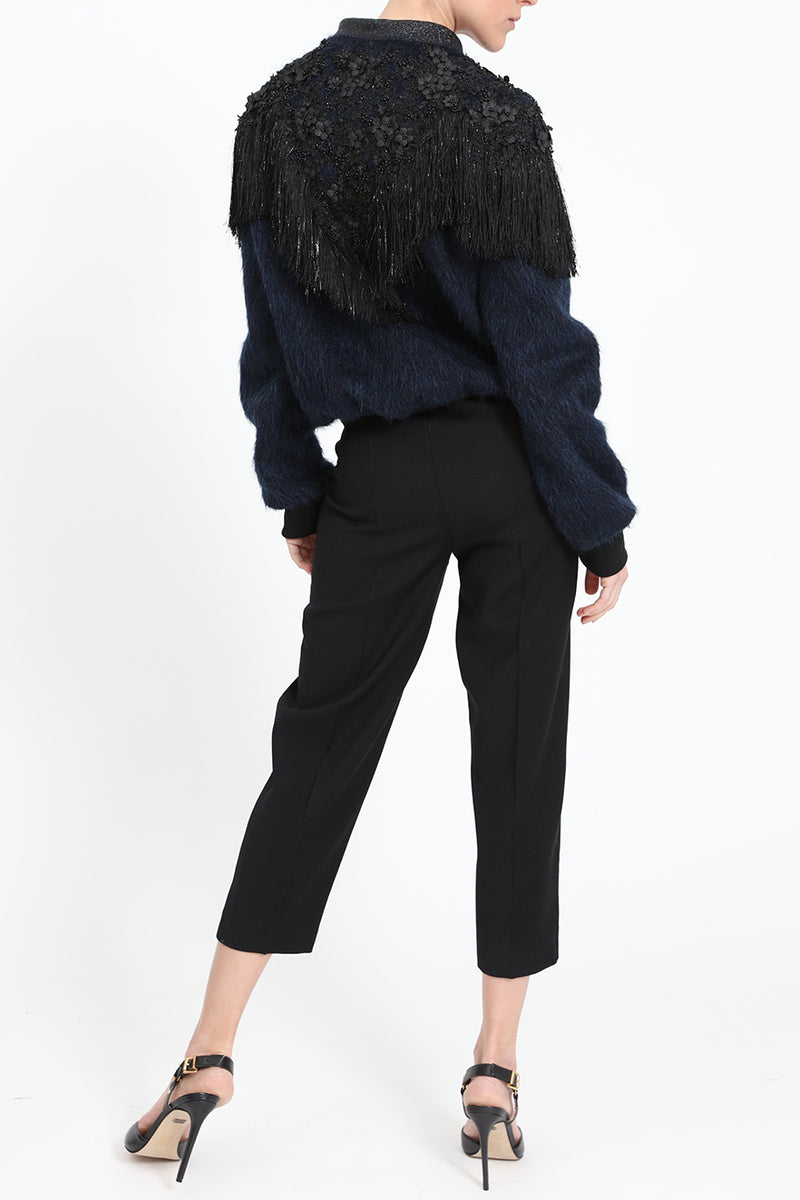 Structured blouson-jacket with shoulder details
