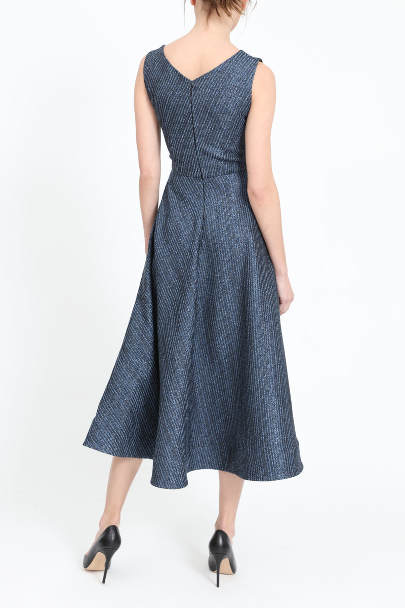 Midi-dress with bateau neckline