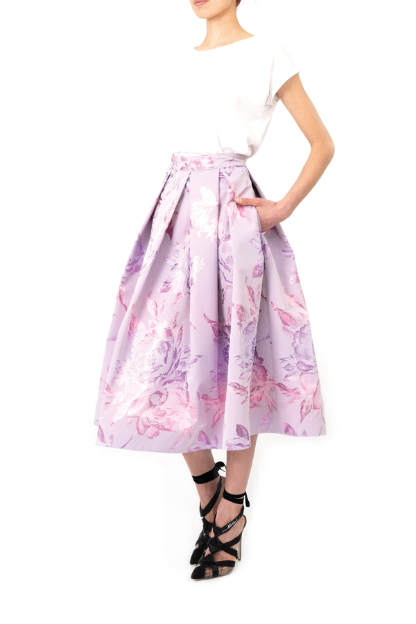 Floral A-line skirt with flower pattern