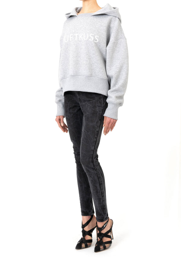 Cropped oversize-hoodie with letter print